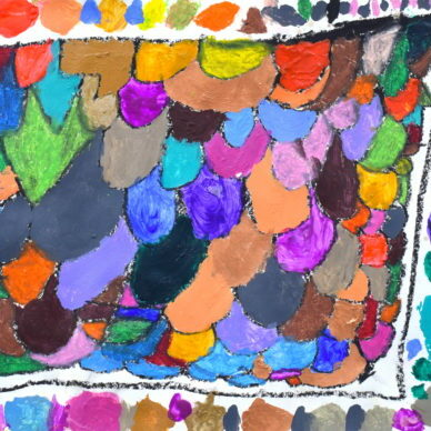 MK_Rainbow Design Pattern_2021_Acrylic and oil pastel on paper_11 x 14