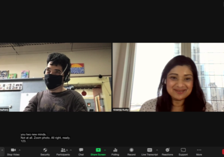 Photo of a Zoom Meeting with Ted Gram Boarini and Krishna Kutty